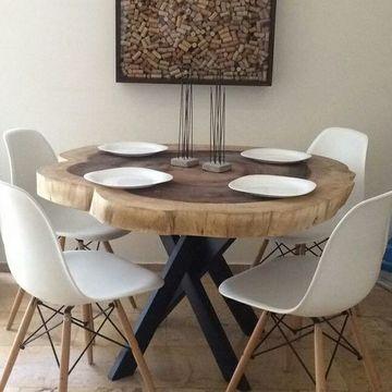 mesas de troncos naturales de comedor