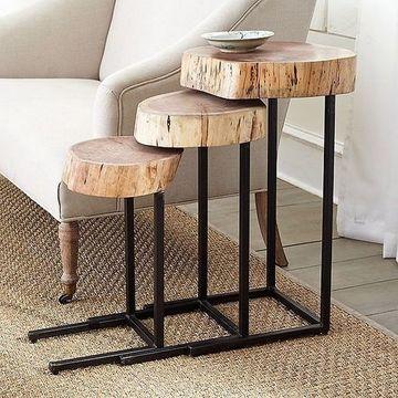 mesas de troncos naturales esquineras