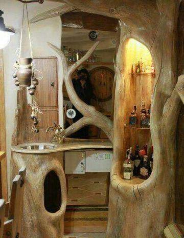 troncos de arboles para decorar epacio de bar
