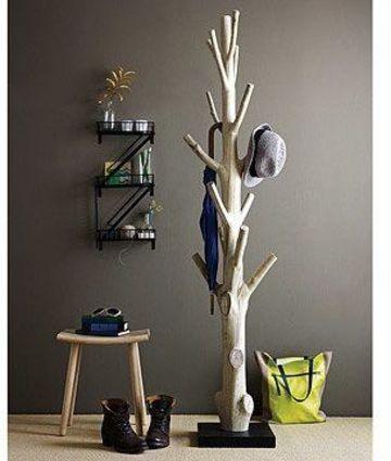 troncos de arboles para decorar tipo perchero