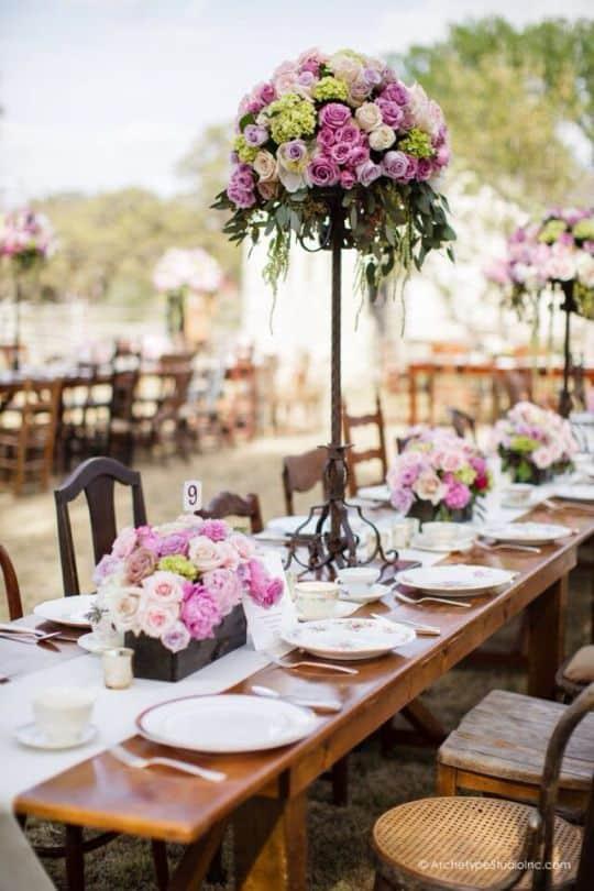 adornos de mesa para xv años elegantes