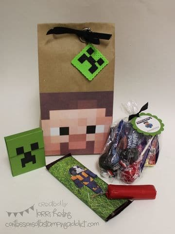 bolsitas de dulces de minecraft en papel craft