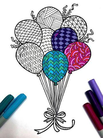 globos de cumpleaños para colorear estampados