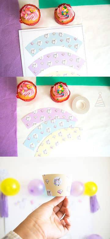 cartulinas decoradas para cumpleaños y cupcake