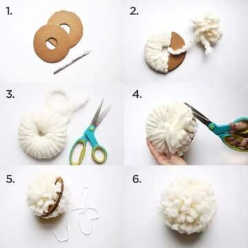 como se hacen los pompones de lana con aros
