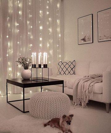 cortinas de luces navideñas con cortinas de tela