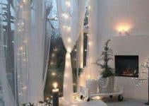 Decoracion interior con cortinas de luces navideñas