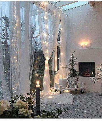 cortinas de luces navideñas para decorar terrazas