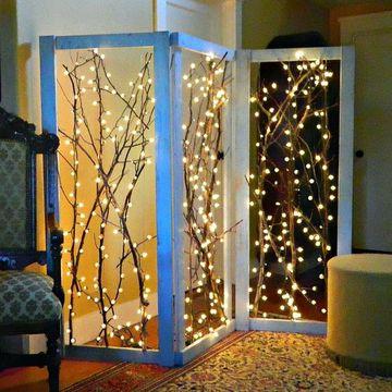 decoracion con luces navideñas para decorar habitaciones