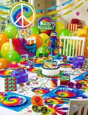 decoracion de colores para cumpleaños hippie