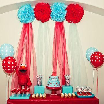 decoracion de elmo para fiestas infantiles en rojo y turquesa