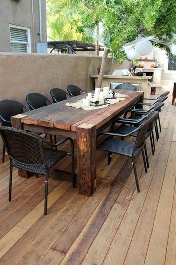mesas de madera para terraza rustica