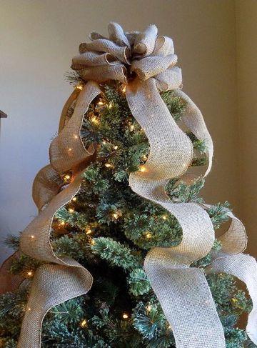 moños navideños para arbol de cinta rustica