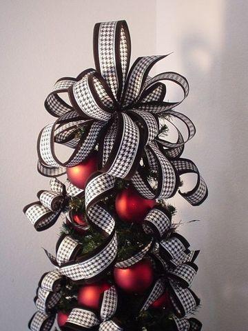 moños navideños para arbol de cinta