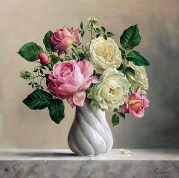 adornos con flores artificiales vintage