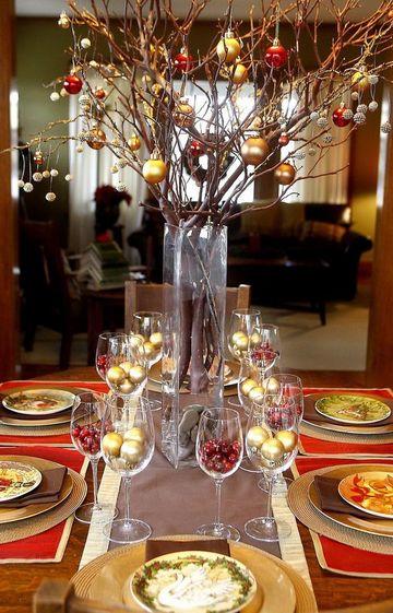 adornos para mesa de comedor de vidrio para navidad