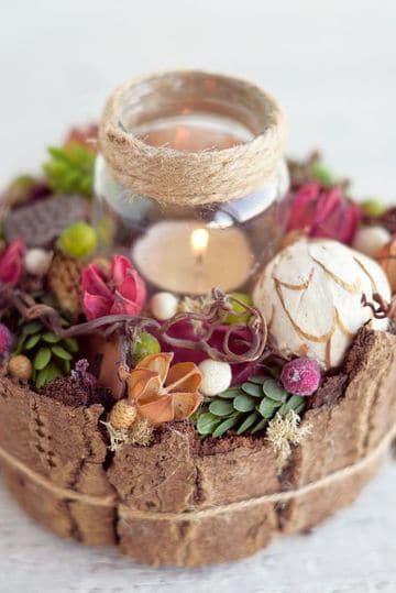 como decorar un candelabro con flores y frutas naturales