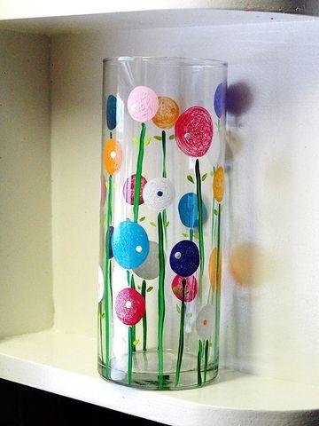 como decorar un florero de cristal con pintura