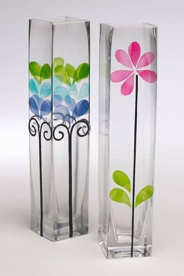 como decorar un florero de cristal largo
