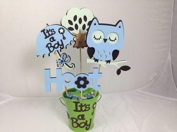 decoracion de buhos para baby shower hecho a mano