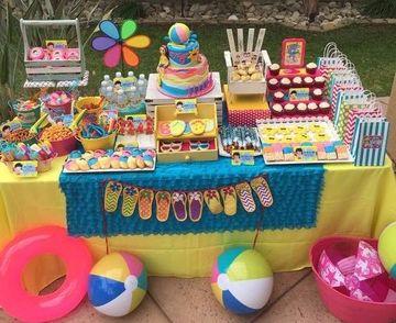 decoracion para fiesta en piscina de niñas