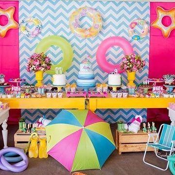 decoracion para fiesta en piscina infantiles