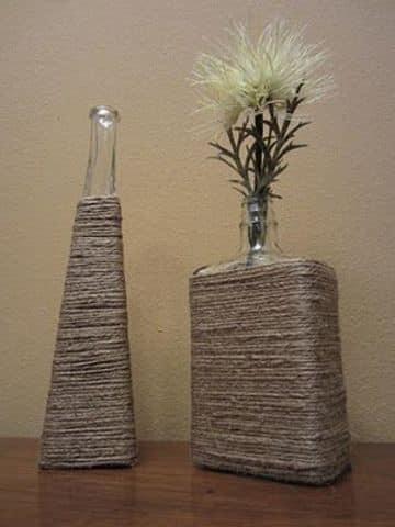 jarrones decorados para las salas con mecatillo