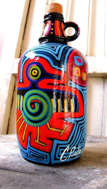 jarrones decorados para las salas pintados a mano