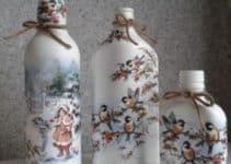 Bellas ideas de botellas de vidrio decoradas con servilletas