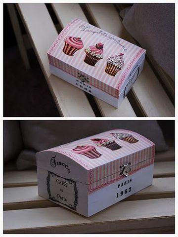 cajas de madera decoradas para regalo de cupcake