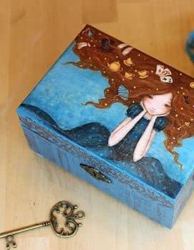 cajas de madera decoradas para regalo pintadas