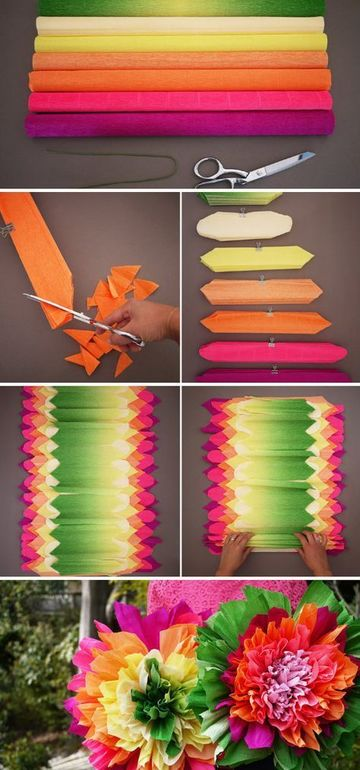 como hacer adornos con papel crepe florales