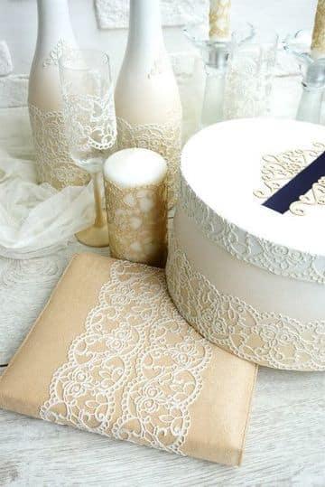 como hacer adornos para boda con encajes