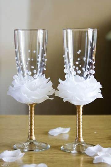 como hacer adornos para boda para el brindis