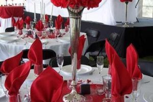 Llamativa y elegante decoracion en rojo para matrimonio