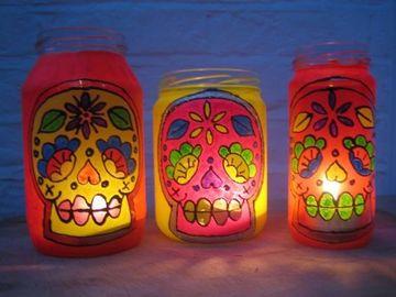 decorar botes de cristal para velas pintados