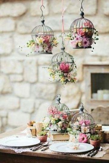 arreglos de mesa para matrimonio con jaulas