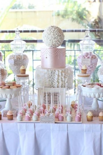 mesas de dulces para bodas elegantes de dia