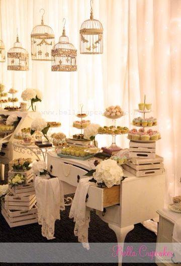 mesas de dulces para bodas vintage en casa