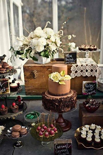 mesas de dulces para bodas vintage sencillas