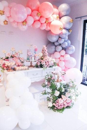 adornos con globos para fiestas infantiles niña