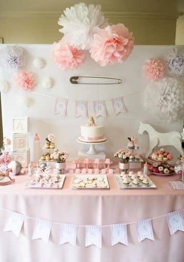 como decorar una fiesta de baby shower de niña
