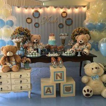 como decorar una fiesta de baby shower de ositos