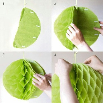 como hacer guirnaldas redondas de papel crepe