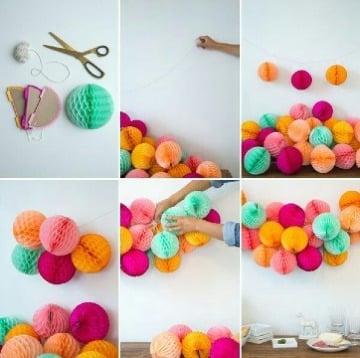 como hacer guirnaldas redondas de papel