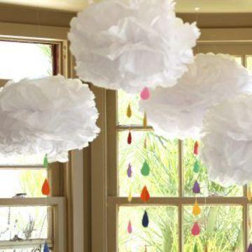 como hacer nubes de papel de papel tissu