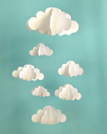 como hacer nubes de papel para moviles