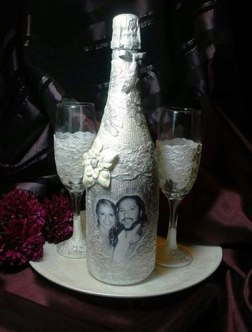 decoracion de botellas para boda con foto