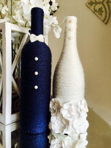decoracion de botellas para boda elegantes