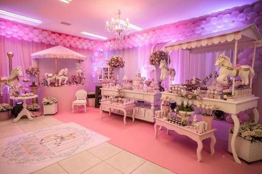 arreglos de salon para baby shower niña